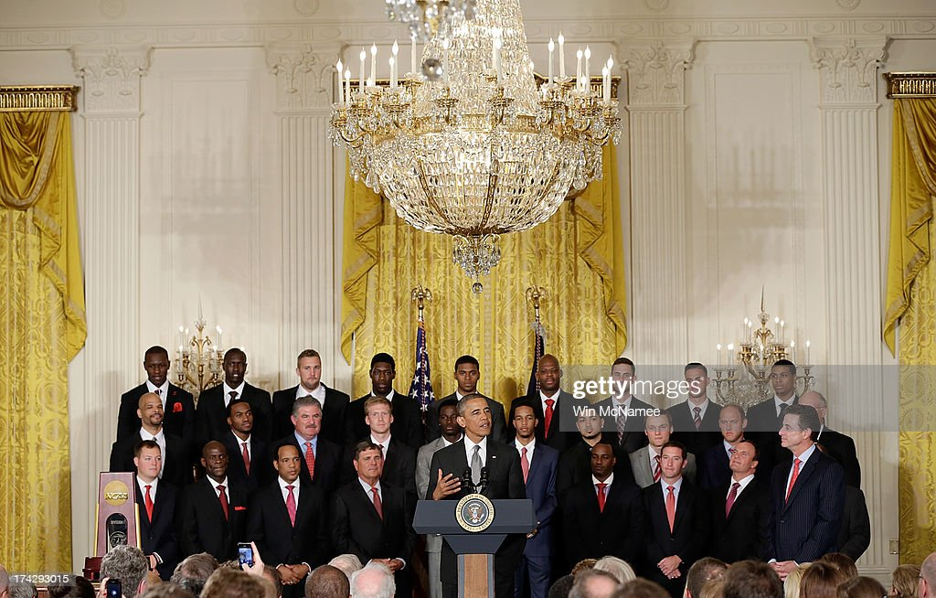 U.S. President Barack Obama speaks during an event honoring the Louisville Cardinals, the 2013 NCAA Men's Basketball Champions, in the East Room of the White House July 23, 2013 in Washington, DC. The Louisville Cardinals defeated the Michigan Wolverines in the championship game by a score of 82-76.