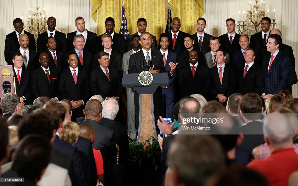 U.S. President <a gi-track='captionPersonalityLinkClicked' href=/galleries/search?phrase=Barack+Obama&family=editorial&specificpeople=203260 ng-click='$event.stopPropagation()'>Barack Obama</a> speaks during an event honoring the Louisville Cardinals, the 2013 NCAA Men's Basketball Champions, in the East Room of the White House July 23, 2013 in Washington, DC. The Louisville Cardinals defeated the Michigan Wolverines in the championship game by a score of 82-76.