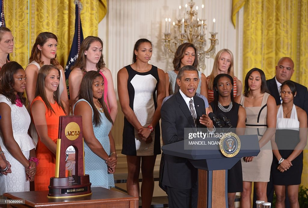 US President Barack Obama speaks during an event in honour of the 2013 NCAA Womens Basketball Champions, the University of Connecticut Huskies, in the East Room of the White House on July 31, 2013 in Washington, DC. AFP PHOTO/Mandel NGAN