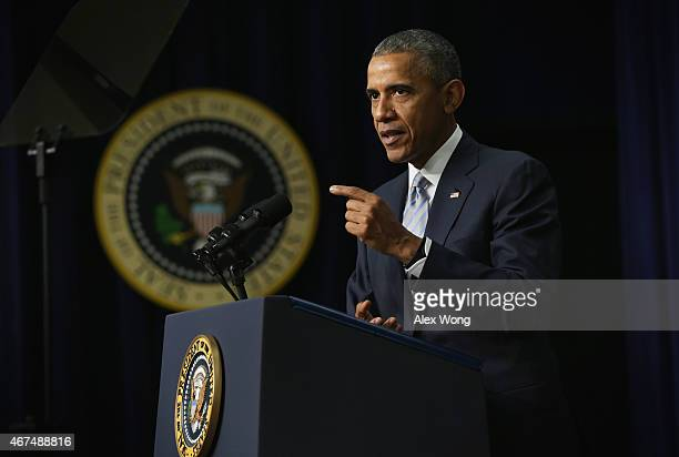 S President Barack Obama speaks during an event marking the 5th anniversay of the Affordable Care Act March 25 2015 at the South Court Auditorium of...