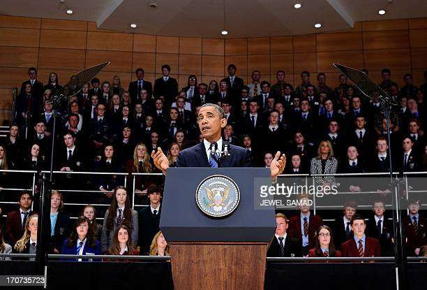 US President Barack Obama speaks during an event on June 17 2013 at the Belfast Water Front in Belfast Northern Ireland US President Barack Obama...