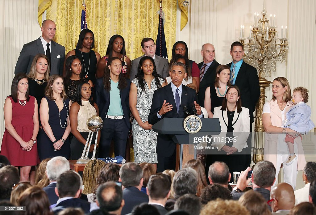 US President <a gi-track='captionPersonalityLinkClicked' href=/galleries/search?phrase=Barack+Obama&family=editorial&specificpeople=203260 ng-click='$event.stopPropagation()'>Barack Obama</a> speaks during an event to honor the 2015 WNBA champions, Minnesota Lynx, during an event in the East Room at the White House June 27, 2016 in Washington, DC.