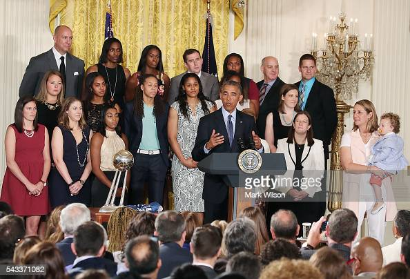 President Barack Obama speaks during an event to honor the 2015 WNBA champions Minnesota Lynx during an event in the East Room at the White House...