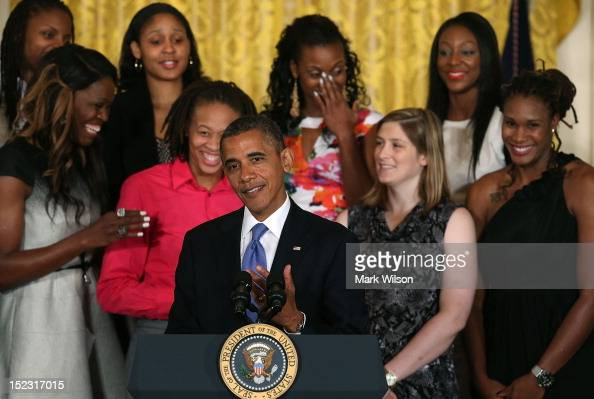 S President Barack Obama speaks during an event to honor the WNBA champion Minnesota Lynx at the White House on September 18 2012 in Washington DC...