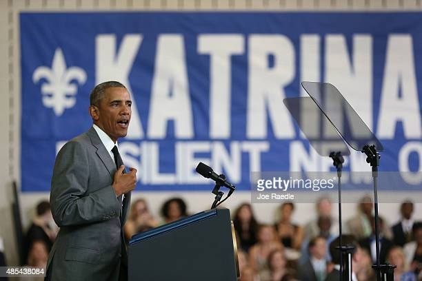 S President Barack Obama speaks during an event to mark the 10th anniversary of Hurricane Katrina on August 27 2015 in New Orleans Louisiana...