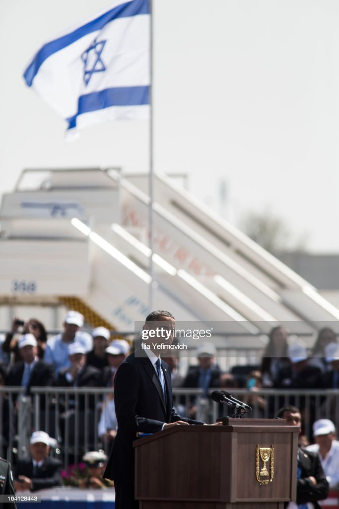 US President Barack Obama speaks during an official welcoming ceremony on his arrival at Ben Gurion International Airport on March 20, 2013 near Tel Aviv, Israel. This will be Obama's first visit as President to the region, and his itinerary will include meetings with the Palestinian and Israeli leaders as well as a visit to the Church of the Nativity in Bethlehem.