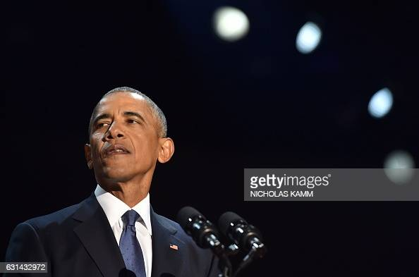 US President Barack Obama speaks during his farewell address in Chicago Illinois on January 10 2017 Barack Obama closes the book on his presidency...