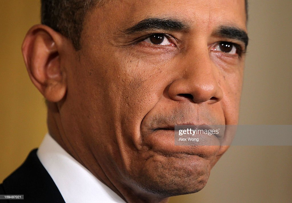 U.S. President <a gi-track='captionPersonalityLinkClicked' href=/galleries/search?phrase=Barack+Obama&family=editorial&specificpeople=203260 ng-click='$event.stopPropagation()'>Barack Obama</a> speaks during his final news conference of his first term at the East Room of the White House January 14, 2013 in Washington, DC. Obama spoke on the debt ceiling and deficit reduction during the news conference.