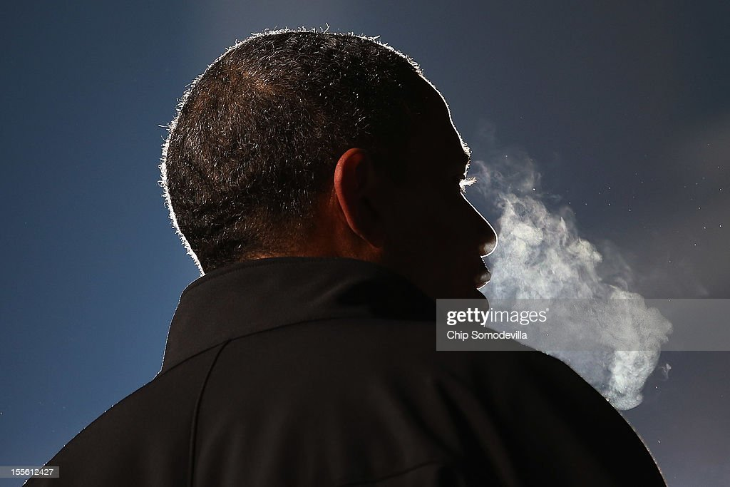 U.S. President <a gi-track='captionPersonalityLinkClicked' href=/galleries/search?phrase=Barack+Obama&family=editorial&specificpeople=203260 ng-click='$event.stopPropagation()'>Barack Obama</a> speaks during his last rally the night before the general election November 5, 2012 in Des Moines, Iowa. The rally was held just outside Obama's first headquarters from the 2008 campaign, where his first march to the White House started. Obama and his opponent, Republican presidential nominee and former Massachusetts Gov. Mitt Romney are stumping from one 'swing state' to the next in a last-minute rush to persuade undecided voters.
