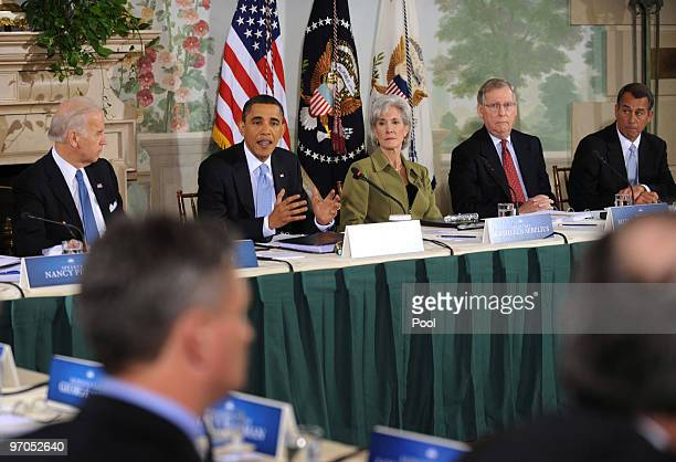 S President Barack Obama speaks during his opening remarks during a bipartisan meeting to discuss health reform legislation with congressional...