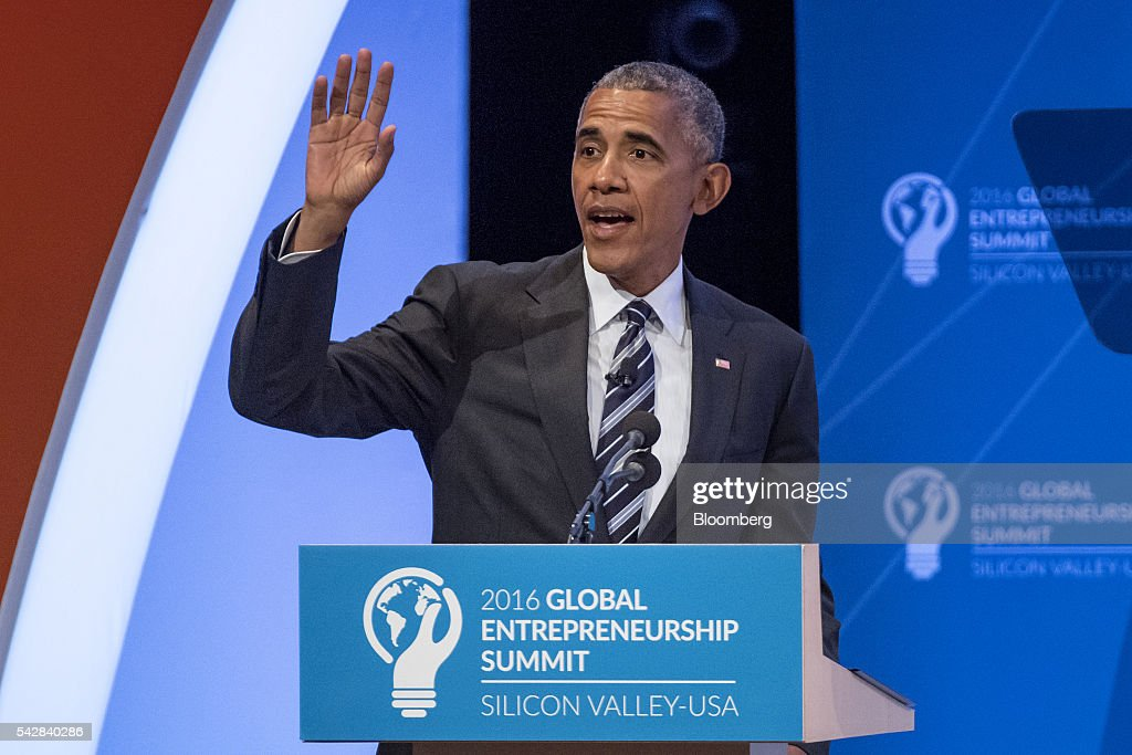 U.S. President <a gi-track='captionPersonalityLinkClicked' href=/galleries/search?phrase=Barack+Obama&family=editorial&specificpeople=203260 ng-click='$event.stopPropagation()'>Barack Obama</a> speaks during the 2016 Global Entrepreneurship Summit (GES) at Stanford University in Stanford, California, U.S., on Friday, June 24, 2016. The annual event brings together entrepreneurs from around the world for 3 days of networking, workshops and conferences. Photographer: David Paul Morris/Bloomberg via Getty Images