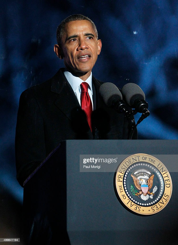 U.S. President Barack Obama speaks during the 93rd Annual National Christmas Tree Lighting at The Ellipse on December 3, 2015 in Washington, DC.