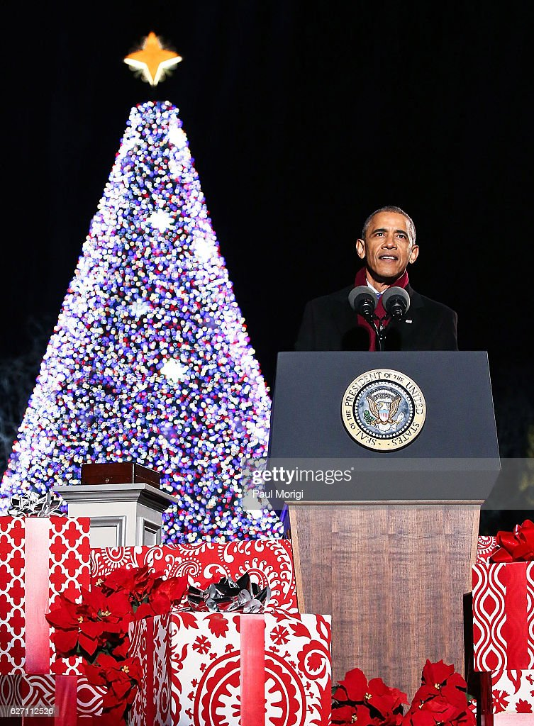 U.S. President Barack Obama speaks during the 94th Annual National Christmas Tree Lighting Ceremony on the Ellipse in President's Park on December 1, 2016 in Washington, DC.