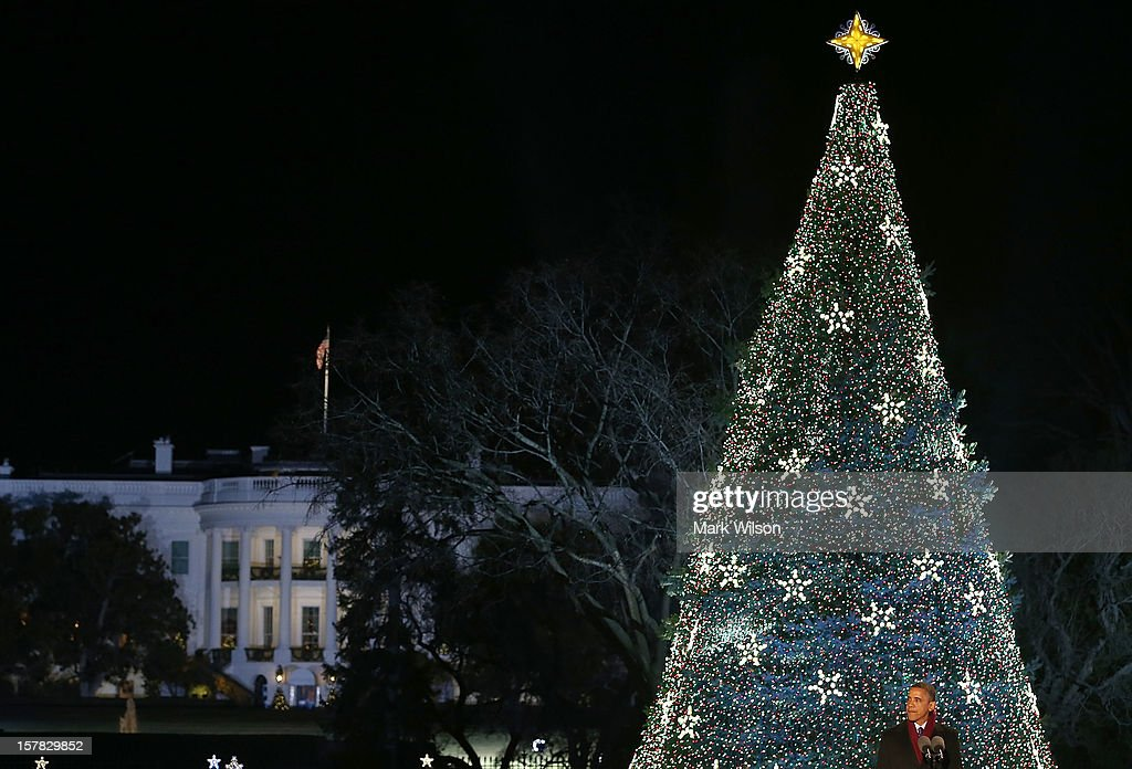 U.S. President <a gi-track='captionPersonalityLinkClicked' href=/galleries/search?phrase=Barack+Obama&family=editorial&specificpeople=203260 ng-click='$event.stopPropagation()'>Barack Obama</a> speaks during the annual lighting of the National Christmas tree on December 6, 2012 in Washington, DC. This year is the 90th annual National Christmas Tree Lighting Ceremony.