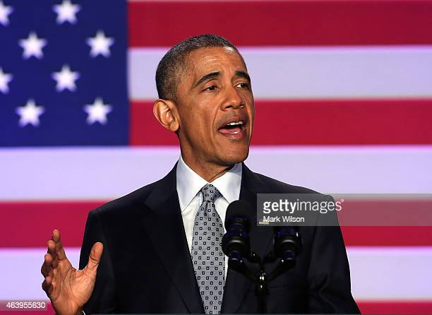 President Barack Obama speaks during the Democratic National Committee general session February 20 2014 in Washington DC The DNC held its annual...