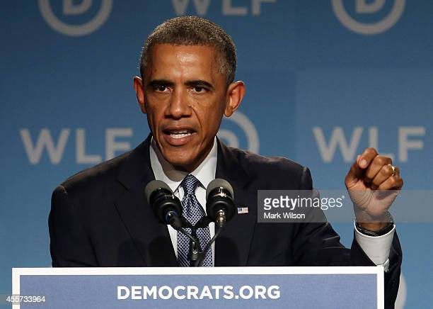 President Barack Obama speaks during the Democratic National Committee's Women's Leadership Forum September 19 2014 in Washington DC The Womens...