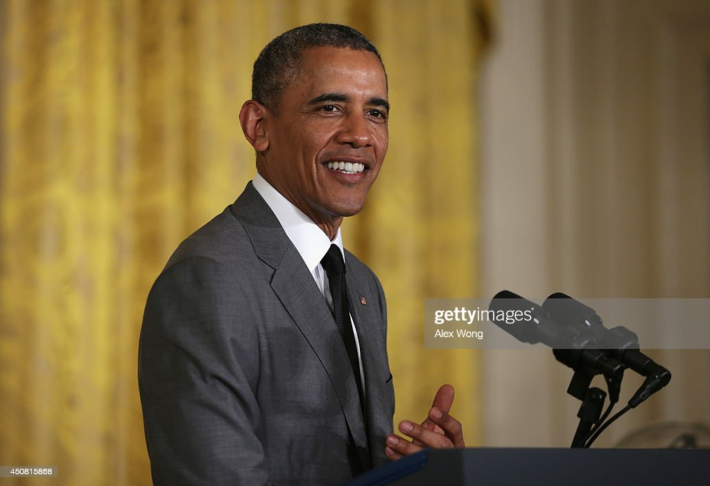 U.S. President <a gi-track='captionPersonalityLinkClicked' href=/galleries/search?phrase=Barack+Obama&family=editorial&specificpeople=203260 ng-click='$event.stopPropagation()'>Barack Obama</a> speaks during the first ever White House Maker Faire June 18, 2014 in the East Room of the White House in Washington, DC. The event was to showcase people who are using new tools and techniques to create new businesses for American manufacturing and to promote for more access for bringing new ideas to life.