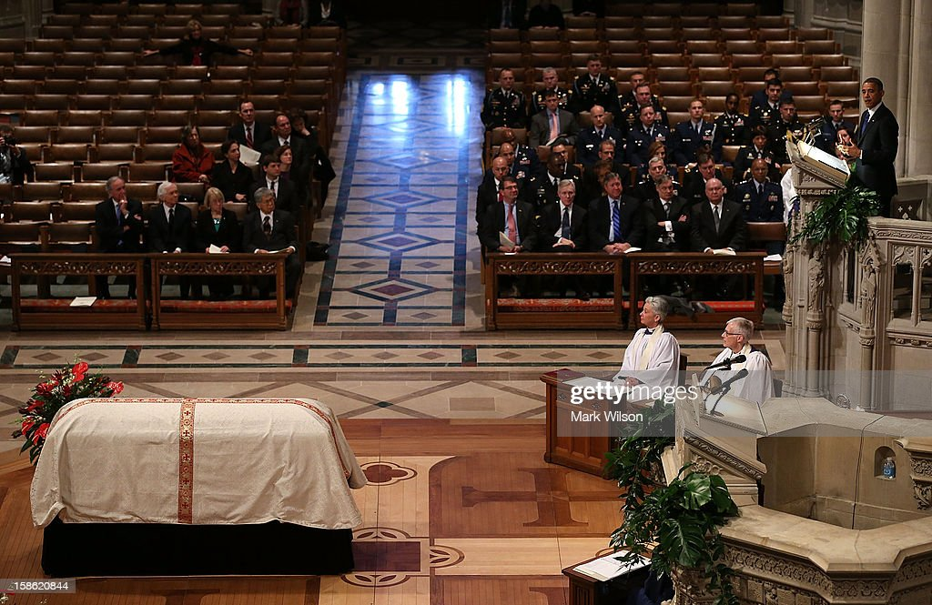 President <a gi-track='captionPersonalityLinkClicked' href=/galleries/search?phrase=Barack+Obama&family=editorial&specificpeople=203260 ng-click='$event.stopPropagation()'>Barack Obama</a> (R) speaks during the funeral service at the National Cathedral on December 21, 2012 in Washington, DC. Sen. Inouye, who was the most senior senator and a Medal of Honor recipient, died on December 17 at the age of 88.