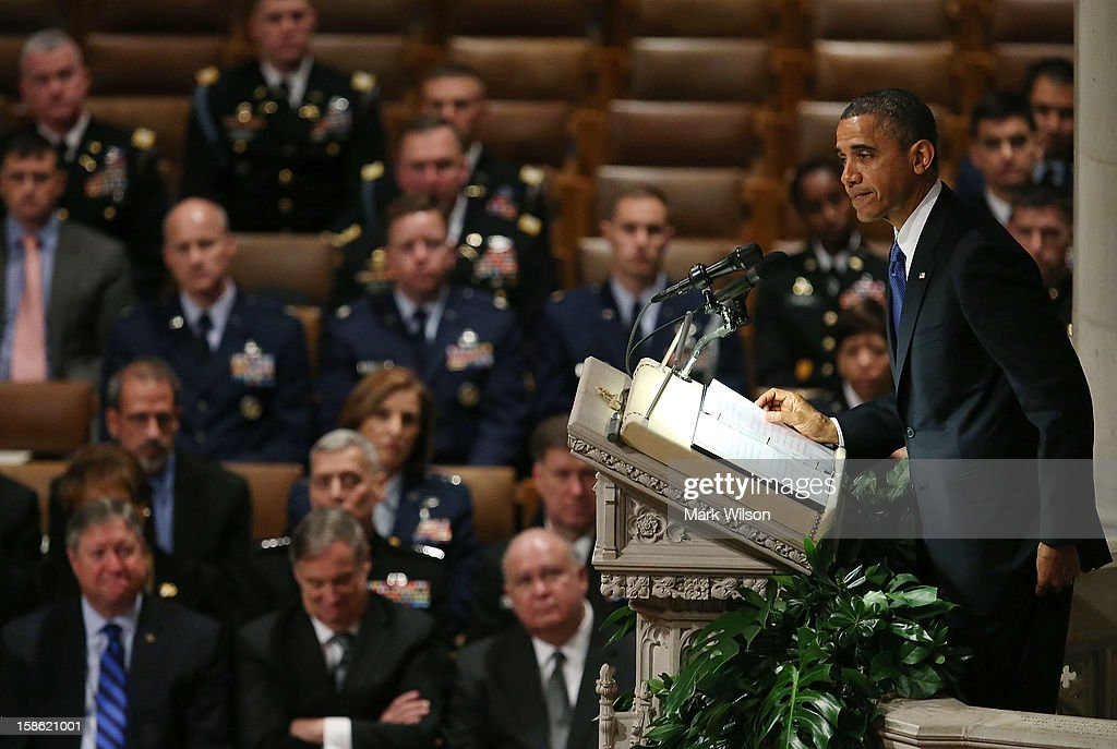President <a gi-track='captionPersonalityLinkClicked' href=/galleries/search?phrase=Barack+Obama&family=editorial&specificpeople=203260 ng-click='$event.stopPropagation()'>Barack Obama</a> speaks during the funeral service for late Sen. Daniel Inouye (D-HI) at the National Cathedral on December 21, 2012 in Washington, DC. Sen. Inouye, who was the most senior senator and a Medal of Honor recipient, died on December 17 at the age of 88.