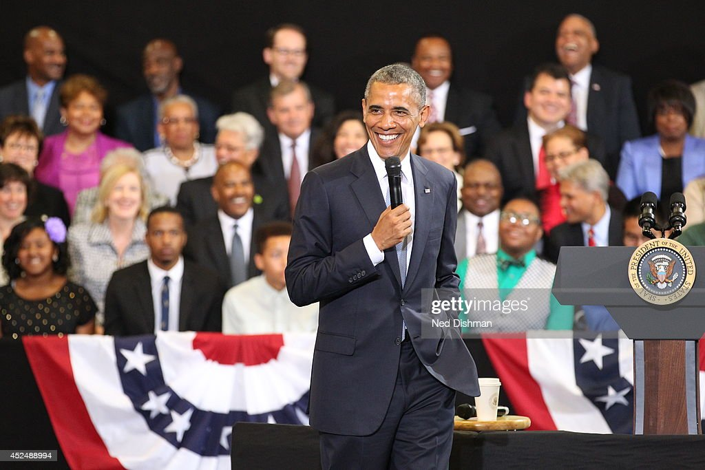 President Barack Obama speaks during the My Brother's Keeper Initiative on July 21, 2014 at the Walker Jones Education Campus in Washington DC.