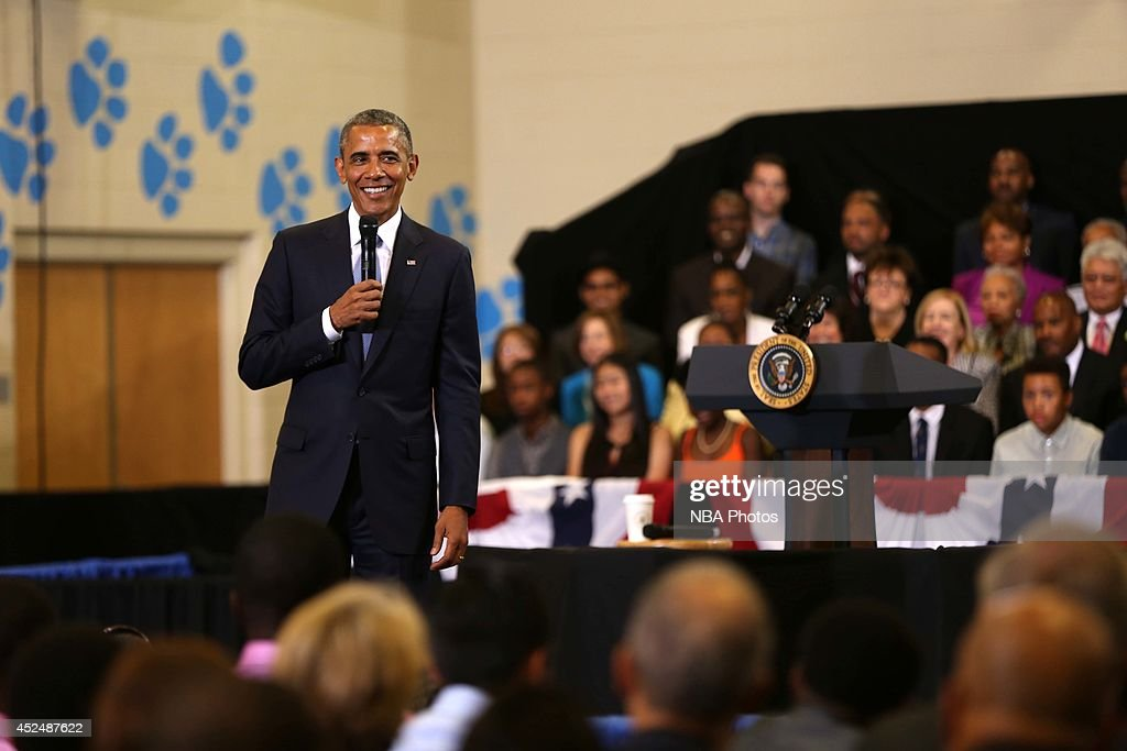 President Barack Obama speaks during the My Brother's Keeper Initiative with President Barack Obama on July 21, 2014 at the Walker Jones Education Campus in Washington DC.