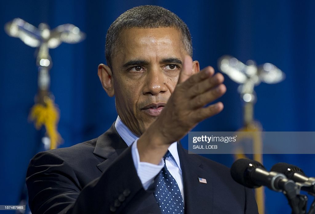 US President <a gi-track='captionPersonalityLinkClicked' href=/galleries/search?phrase=Barack+Obama&family=editorial&specificpeople=203260 ng-click='$event.stopPropagation()'>Barack Obama</a> speaks during the Nunn-Lugar Cooperative Threat Reduction (CTR) symposium at the National Defense University in Washington on December 3, 2012. Obama directly warned Syria's President Bashar al-Assad that he would face 'consequences' if he made the 'tragic mistake' of turning chemical weapons on his own people. AFP PHOTO / Saul LOEB
