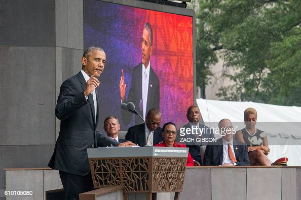 US President Barack Obama speaks during the opening ceremony for the Smithsonian National Museum of African American History and Culture on September...