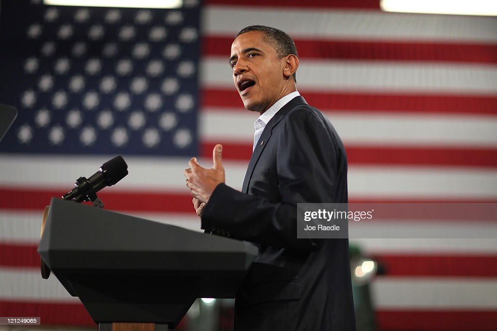 President <a gi-track='captionPersonalityLinkClicked' href=/galleries/search?phrase=Barack+Obama&family=editorial&specificpeople=203260 ng-click='$event.stopPropagation()'>Barack Obama</a> speaks during the opening session of the Rural Economic Forum at Northeast Iowa Community College on August 16, 2011 in Peosta, Iowa. President Obama is on the second day of a three-day bus tour of Minnesota, Iowa and Illinois during which he will discuss ways to improve the economy and create jobs and hear directly from Americans.
