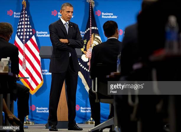 S President Barack Obama speaks during the quarterly meeting of the Business Roundtable on September 16 2015 in Washington DC President Obama spoke...