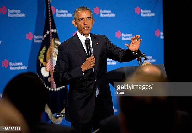 S President Barack Obama speaks during the quarterly meeting of the Business Roundtable on September 16 2015 in Washington DC President Obama spoke...