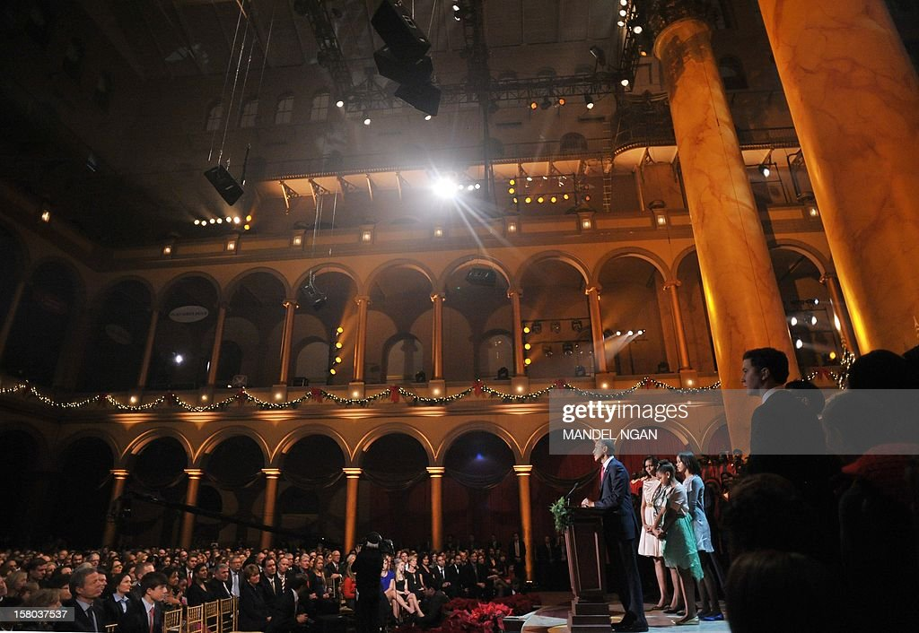US President Barack Obama speaks during the taping of the 'Christmas in Washington' television special on December 9, 2012 at the Building Museum in Washington, DC. AFP PHOTO/Mandel NGAN