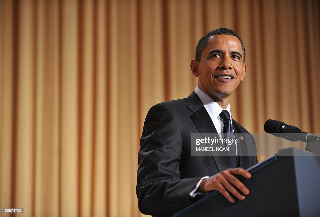 US President Barack Obama speaks during the White House Correspondents� Association annual dinner on May 9, 2009 at the Washington Hilton hotel in Washington. AFP PHOTO/Mandel NGAN