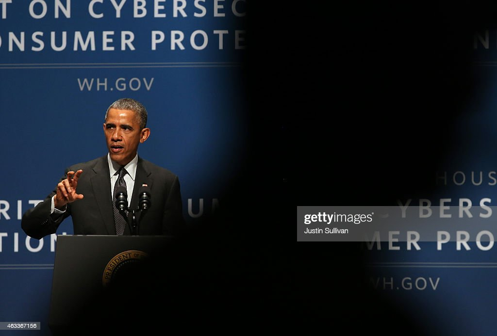 U.S. President Barack Obama speaks during the White House Summit on Cybersecurity and Consumer Protection on February 13, 2015 in Stanford, California. President Obama joined corporate CEOs to speak about the imporatance of cybersecurity during the White House Summit on Cybersecurity and Consumer Protection.
