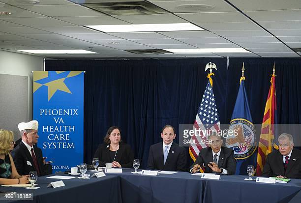 US President Barack Obama speaks following a briefing on US military veterans healthcare at the Veterans Affairs Medical Center in Phoenix Arizona...