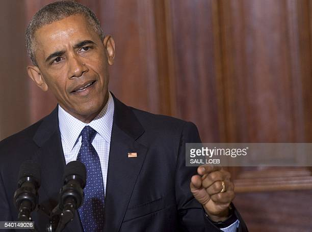 US President Barack Obama speaks following a National Security Council meeting on the Islamic State at the Department of Treasury in Washington DC...