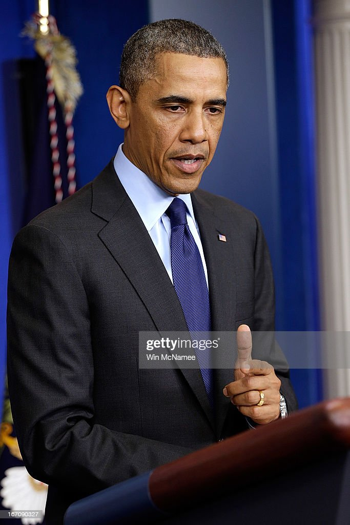 U.S. President <a gi-track='captionPersonalityLinkClicked' href=/galleries/search?phrase=Barack+Obama&family=editorial&specificpeople=203260 ng-click='$event.stopPropagation()'>Barack Obama</a> speaks from the White House about the capture of Dzhokhar A. Tsarnaev on April 19, 2013 in Washington, DC. A manhunt for a suspect in the Boston Marathon bombing, Dzhokhar A. Tsarnaev, 19, ended this evening with his capture on a boat parked on a residential property in Watertown, Massachusetts. His brother Tamerlan Tsarnaev, 26, the other suspect, was shot and killed by police early this morning after a car chase and shootout with police. The two men are suspects in the bombings at the Boston Marathon on April 15 that killed three people and wounded at least 170.