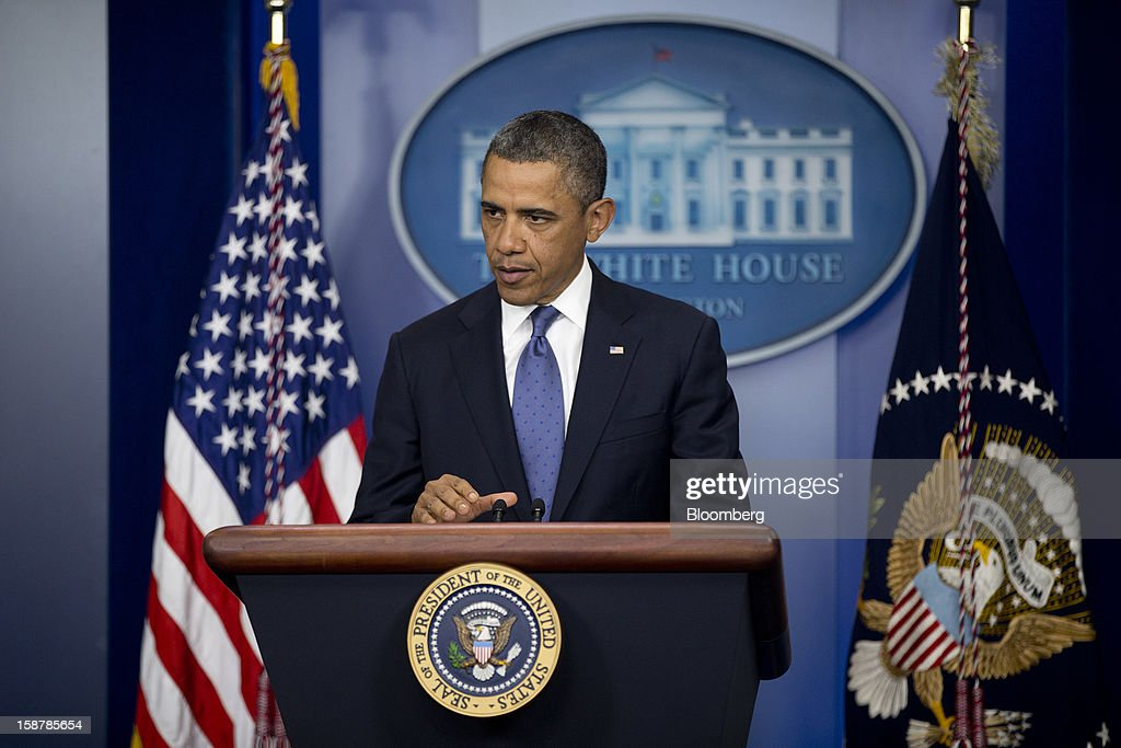 U.S. President <a gi-track='captionPersonalityLinkClicked' href=/galleries/search?phrase=Barack+Obama&family=editorial&specificpeople=203260 ng-click='$event.stopPropagation()'>Barack Obama</a> speaks in the Brady Press Briefing Room at the White House in Washington, D.C., U.S., on Friday, Dec. 28, 2012. Obama is seeking an up-or-down vote on his proposal to extend tax cuts for annual income up to $250,000, absent a counteroffer from congressional leaders, an official familiar with today's budget talks said. Photographer: Andrew Harrer/Bloomberg via Getty Images