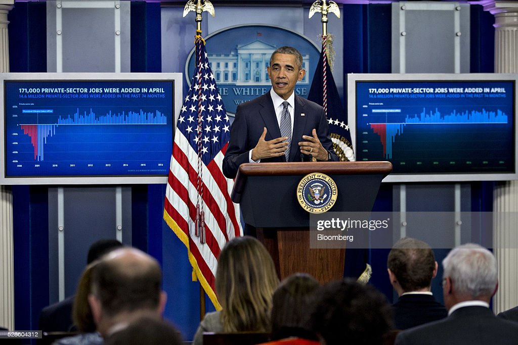 U.S. President Barack Obama speaks in the Brady Press Briefing Room of the White House in Washington, D.C., U.S., on Friday, May 6, 2016. The Labor Department on Friday said that U.S. employers added the fewest jobs in seven months in April amid subdued economic growth. Obama considers the economic recovery since he became president in 2009 to be the central achievement of his presidency. Photographer: Andrew Harrer/Bloomberg via Getty Images