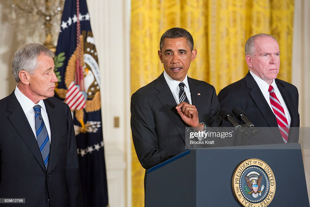 President Barack Obama speaks in the East Room of the White House in Washington to announce that he is nominating John Brennan right as the new CIA...