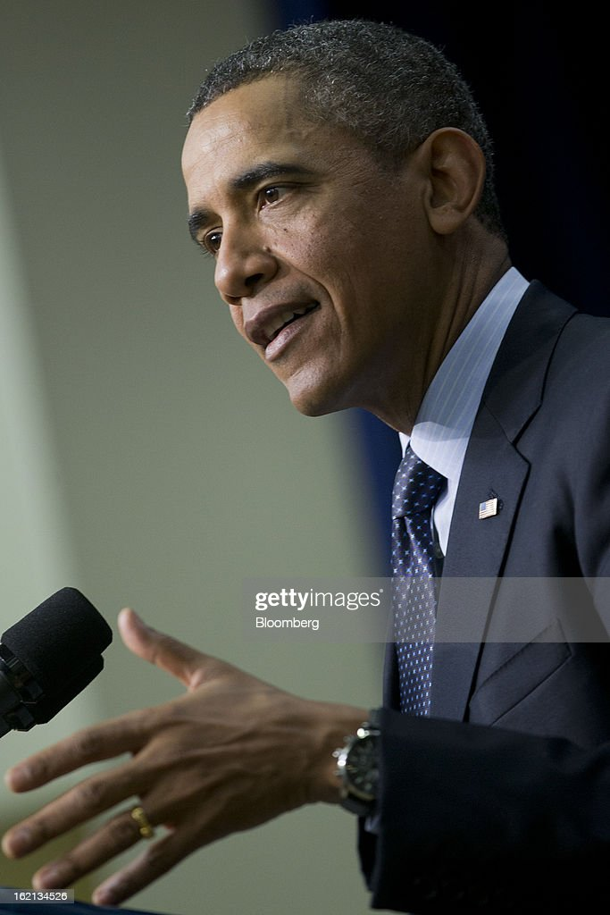 U.S. President <a gi-track='captionPersonalityLinkClicked' href=/galleries/search?phrase=Barack+Obama&family=editorial&specificpeople=203260 ng-click='$event.stopPropagation()'>Barack Obama</a> speaks in the South Court Auditorium of the Eisenhower Executive Building next to the White House in Washington, D.C., U.S., on Tuesday, Feb. 19, 2013. Obama stepped up pressure on Congress to avert 'brutal' automatic $1.2 trillion in budget cuts set to kick in March 1, saying it would harm the economy and curtail vital services. Photographer: Andrew Harrer/Bloomberg via Getty Images