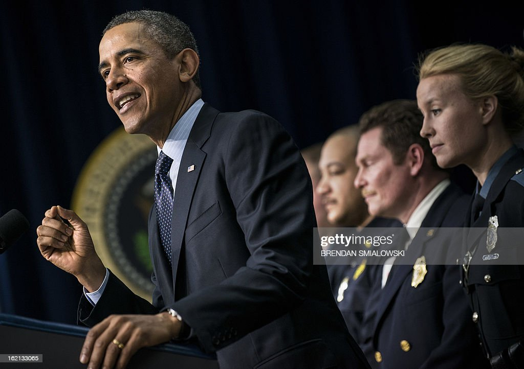 US President Barack Obama speaks joined by emergency responders in the Eisenhower Executive Office Building on the White House campus February 19, 2013 in Washington, DC. Obama spoke about the upcoming spending cuts know as the sequester to go into effect next month if the Congress and Obama administration can not agree on federal spending. AFP PHOTO/Brendan SMIALOWSKI