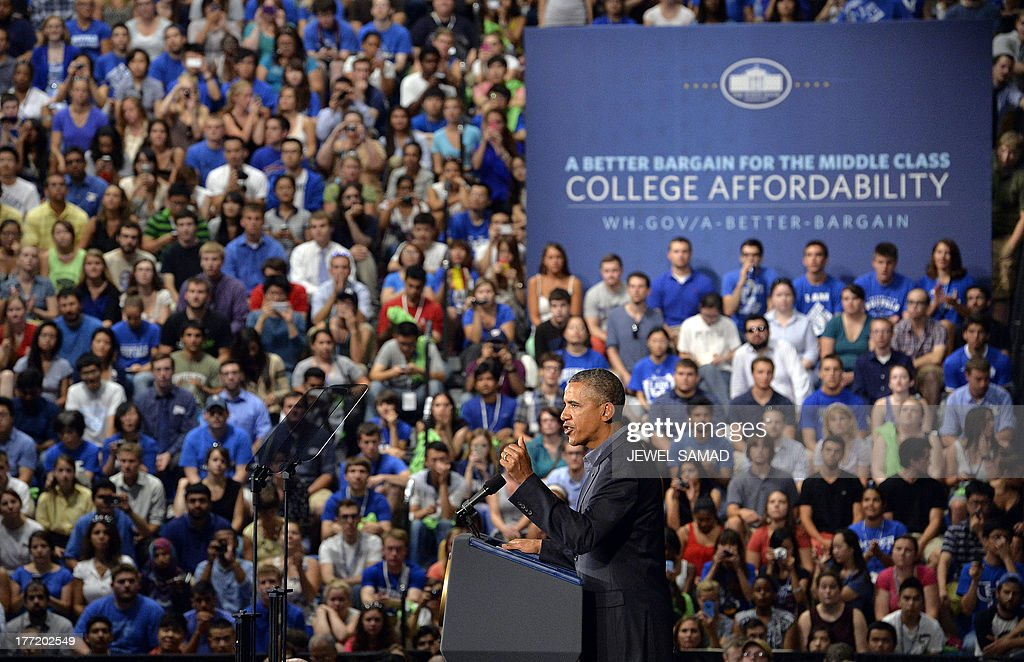 US President Barack Obama speaks on education at University of Buffalo, the State University of New York, on August 22, 2013 in Buffalo, New York. Obama is on a two-day bus tour through New York and Pennsylvania to discuss his plan to make college more affordable, tackle rising costs, and improve value for students and their families. AFP Photo/Jewel Samad