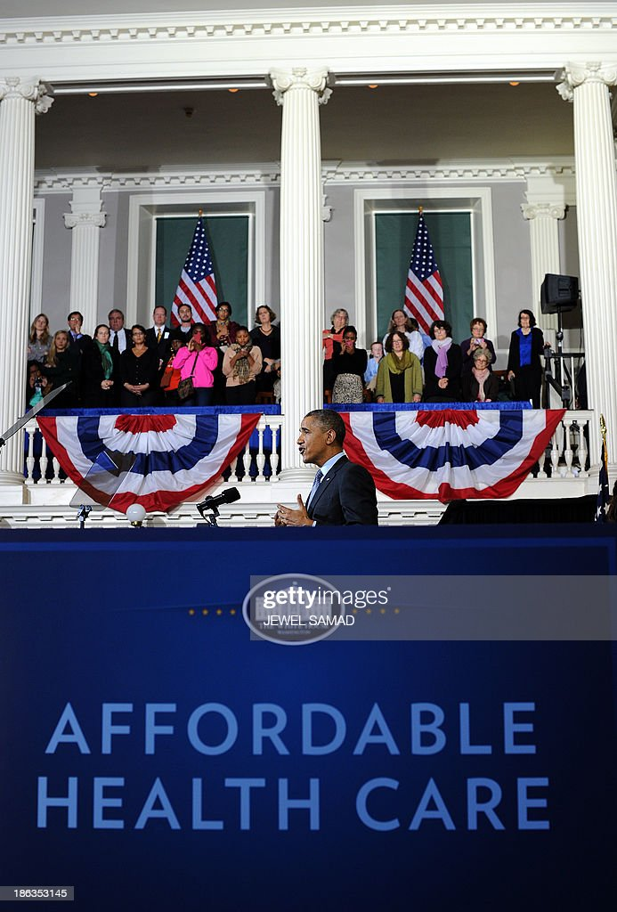 US President <a gi-track='captionPersonalityLinkClicked' href=/galleries/search?phrase=Barack+Obama&family=editorial&specificpeople=203260 ng-click='$event.stopPropagation()'>Barack Obama</a> speaks on healthcare at Faneuil Hall in Boston, Massachusetts, on October 30, 2013. Obama arrived in Boston to speak on the importance of providing all Americans with quality, affordable health insurance and the experience in Massachusetts, which passed its bipartisan health care law in 2006. AFP Photo/Jewel Samad
