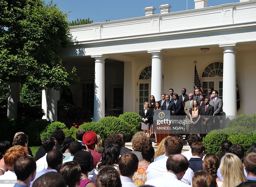US President <a gi-track='captionPersonalityLinkClicked' href=/galleries/search?phrase=Barack+Obama&family=editorial&specificpeople=203260 ng-click='$event.stopPropagation()'>Barack Obama</a> speaks on student loans on May 31, 2013 in the Rose Garden of the White House in Washington, DC. AFP PHOTO/Mandel NGAN