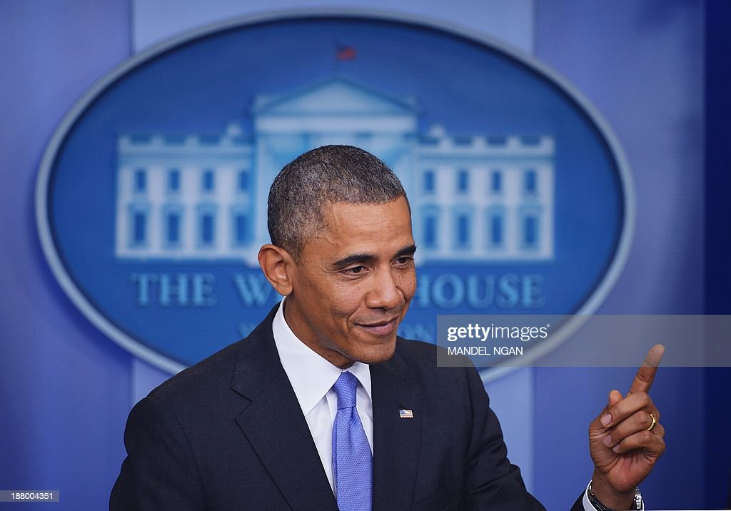 US President Barack Obama speaks on the Affordable Care Act in the Brady Press Briefing Room of the White House on November 14, 2013 in Washington, DC. AFP PHOTO/Mandel NGAN