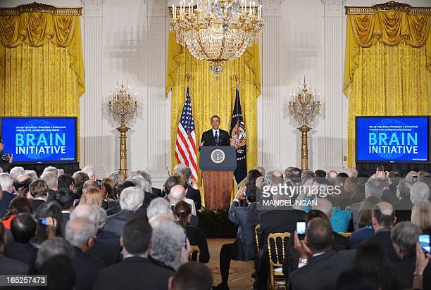 US President Barack Obama speaks on the Brain Research through Advancing Innovative Neurotechnologies Initiative on April 2 2013 in the East Room of...