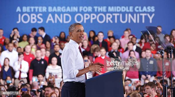 US President Barack Obama speaks on the economy at North Carolina State University in Raleigh North Carolina on January 15 2014 AFP PHOTO/Mandel NGAN