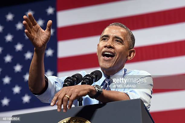 US President Barack Obama speaks on the economy at the Paramount Theatre in Austin Texas on July 10 2014 Obama hailed new data showing the US economy...