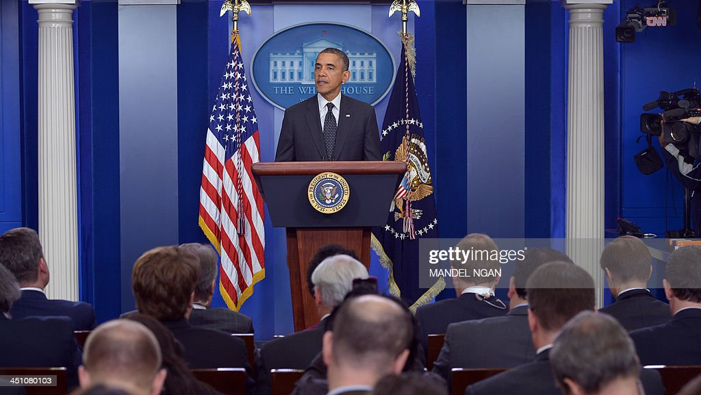 US President Barack Obama speaks on the Senate 'Nuclear Option' in the Brady Briefing Room of the White House on November 21, 2013 in Washington, DC. The US Senate took the potentially explosive step Thursday of changing its rules to allow executive and lower court nominees to be approved by a simple majority vote. AFP PHOTO/Mandel NGAN