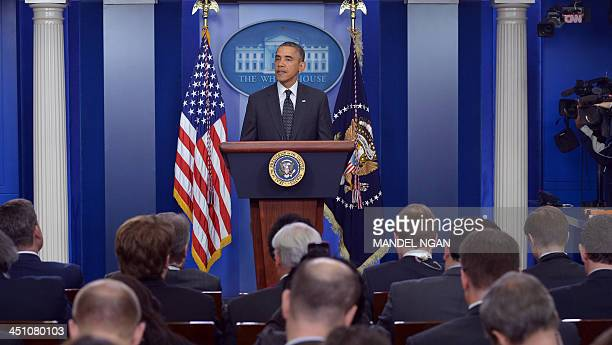 US President Barack Obama speaks on the Senate 'Nuclear Option' in the Brady Briefing Room of the White House on November 21 2013 in Washington DC...